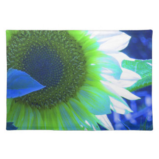 tinted pretty sunflower - blue placemat
