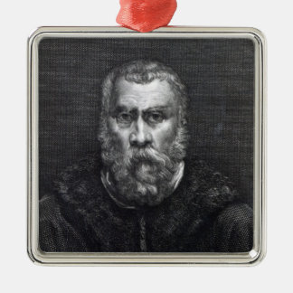 Tintoretto, engraved by Delaistre Silver-Colored Square Decoration