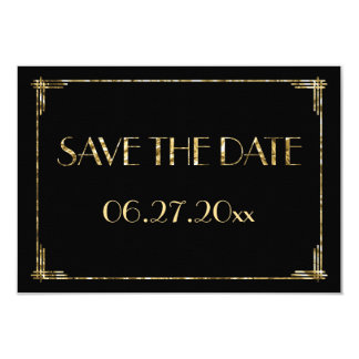 Tiny Art Deco Gold Foil Wedding Save The Date Card 9 Cm X 13 Cm Invitation Card