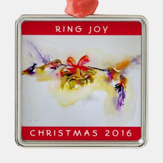 """""""Tiny Bells"""" Christmas Hummingbirds Metal Ornament"""