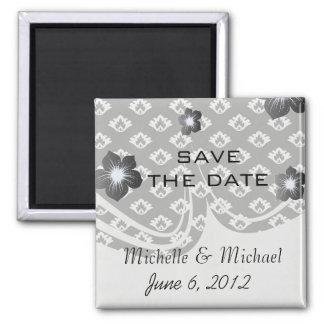 tiny black and white damask pattern magnet