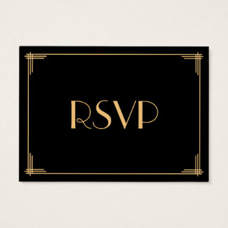 Tiny Black Gold Great Gatsby Art Deco Wedding RSVP