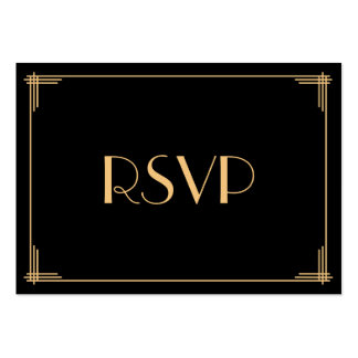 Tiny Black Gold Great Gatsby Art Deco Wedding RSVP Pack Of Chubby Business Cards