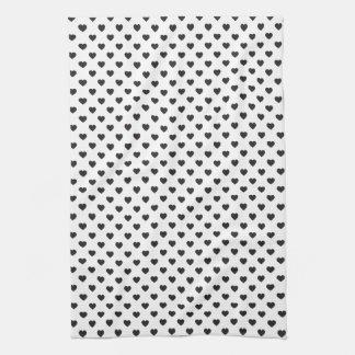 Tiny Black Hearts Pattern Hand Towels