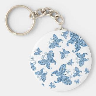 Tiny Blue Butterflies Key Ring