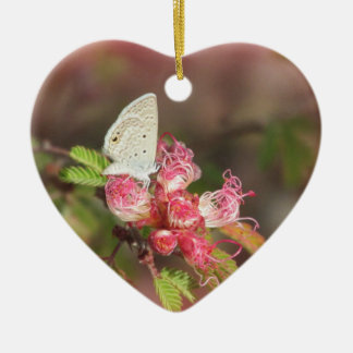 Tiny Butterfly on Pink Flower Ceramic Ornament