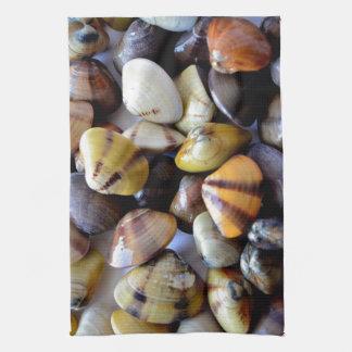 Tiny Colorful Clam Shells Tea Towel