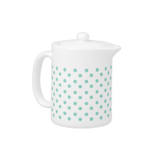 Tiny Cool Aqua Polka Dots on White