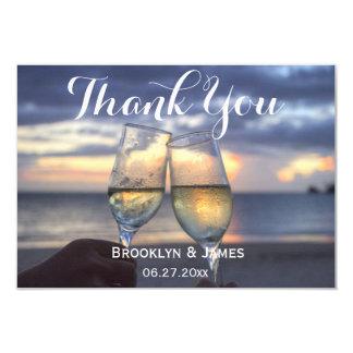 Tiny Custom Sunset On Beach Wedding Thank You Card 9 Cm X 13 Cm Invitation Card