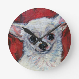 Tiny Cute Chihuahua Smile Round Clock