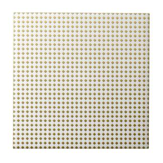 Tiny Diamonds Squares Golden Yellow Pattern Ceramic Tile