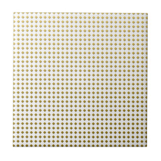Tiny Diamonds Squares Golden Yellow Pattern Small Square Tile