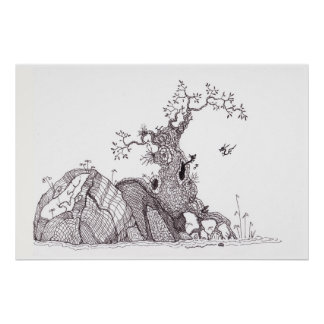 Tiny dragons tree nest poster