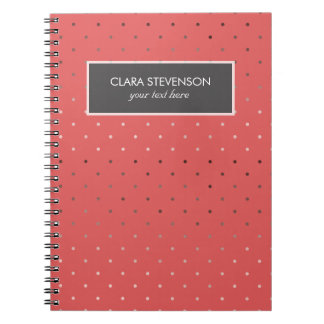tiny faux rose gold coral polka dots pattern notebook