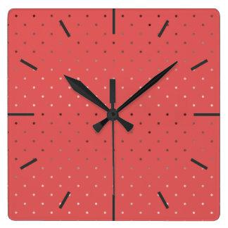 tiny faux rose gold coral polka dots pattern square wall clock