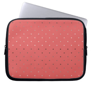 tiny faux rose gold foil coral polka dots pattern computer sleeves