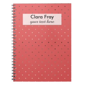 tiny faux rose gold foil coral polka dots pattern spiral notebook