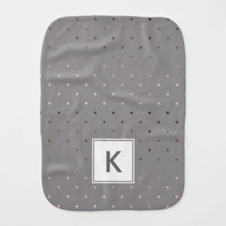 tiny faux rose gold foil grey polka dots pattern burp cloths