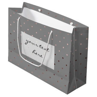 tiny faux rose gold foil grey polka dots pattern large gift bag