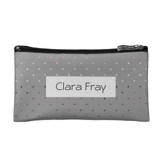 tiny faux rose gold foil grey polka dots pattern makeup bag