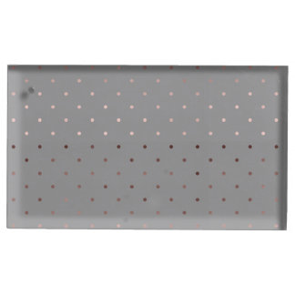 tiny faux rose gold foil grey polka dots pattern table card holder