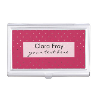tiny faux rose gold foil pink polka dots pattern case for business cards