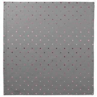 tiny faux rose gold grey polka dots pattern napkin