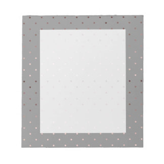 tiny faux rose gold grey polka dots pattern notepad