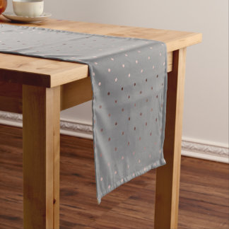 tiny faux rose gold grey polka dots pattern short table runner