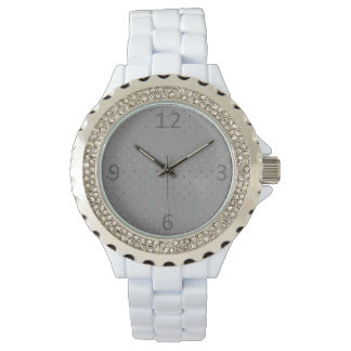 tiny faux rose gold grey polka dots pattern watch
