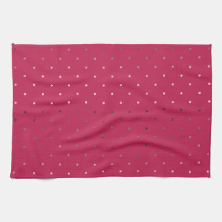 tiny faux rose gold pink polka dots pattern tea towel