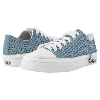 Tiny Fish Herringbone Pattern Blue and Grey Shoes Printed Shoes