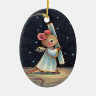 Tiny Flame - Cute Christmas Angel Mouse Art Double-Sided Oval Ceramic Christmas Ornament