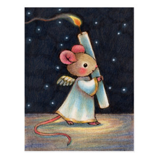 Tiny Flame - Cute Christmas Angel Mouse Art Post Cards