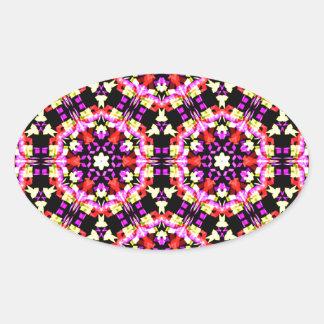 Tiny Floral Pattern Oval Sticker