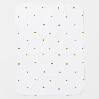 Tiny Gold Glitter Dots Golden Glittery Polka Dots Swaddle Blankets