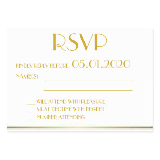 Tiny Gold Monogrammed Great Gatsby Wedding RSVP Pack Of Chubby Business Cards