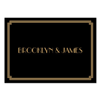 Tiny Great Gatsby Art Deco Black Gold Wedding RSVP Pack Of Chubby Business Cards