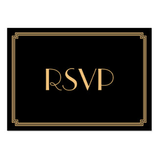 Tiny Great Gatsby Art Deco Black Wedding RSVP Pack Of Chubby Business Cards