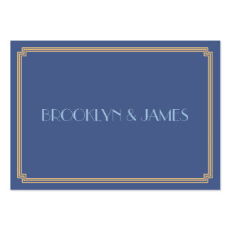 Tiny Great Gatsby Art Deco Blue Gold Wedding RSVP Pack Of Chubby Business Cards