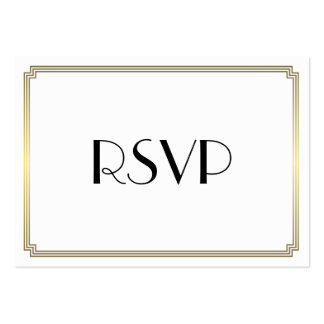 Tiny Great Gatsby Art Deco Gold Wedding RSVP Pack Of Chubby Business Cards