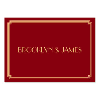 Tiny Great Gatsby Art Deco Red Gold Wedding RSVP Pack Of Chubby Business Cards