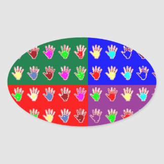TINY HANDS Blessings GRAPHICS: ColorMANIA Artist Oval Stickers