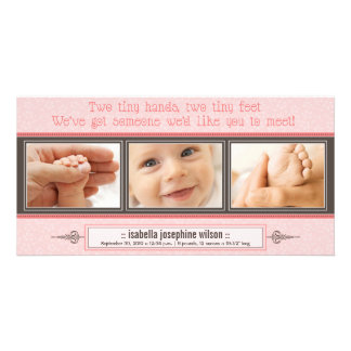 Tiny Hands, Tiny Feet Birth Announcement (pink) Card