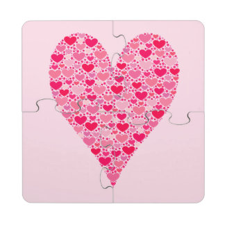 Tiny Hearts Big Heart on Rose Pink Valentines Puzzle Coaster