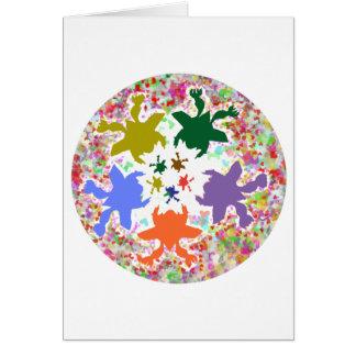 Tiny Hearts  -  Happy Aquatic Family Dance Greeting Card