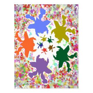 Tiny Hearts  -  Happy Aquatic Family Dance Postcards