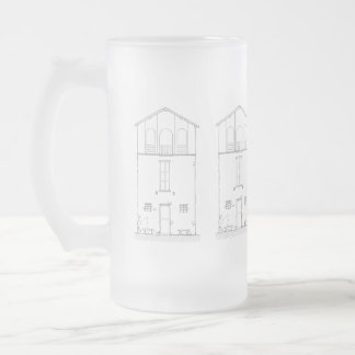 Tiny House Black & White Architecture Ink Drawing Frosted Glass Beer Mug