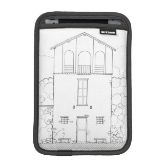 Tiny House Black & White Architecture Ink Drawing iPad Mini Sleeve
