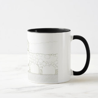 Tiny House Black & White Architecture Ink Drawing Mug